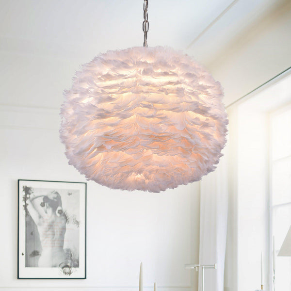 White Feather and Chrome Glam Pendant Lamp-GoGetGlam