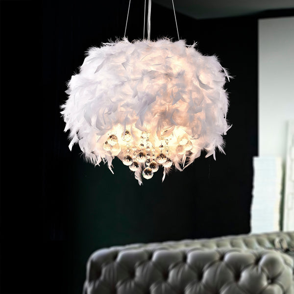 Fluffy White Feathers Crystal Glam Pendant Lamp - Boho Bohemian Decor