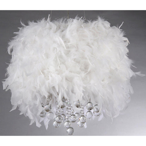 Fluffy White Feathers Crystal Glam Pendant Lamp-GoGetGlam