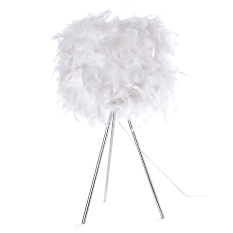 White Feather Table Lamp - Boho Bohemian Decor