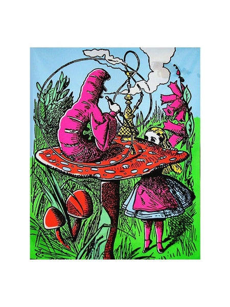 Alice in Wonderland Mushroom Caterpillar Blacklight Reactive Cloth Wall Hanging Tapestry-GoGetGlam