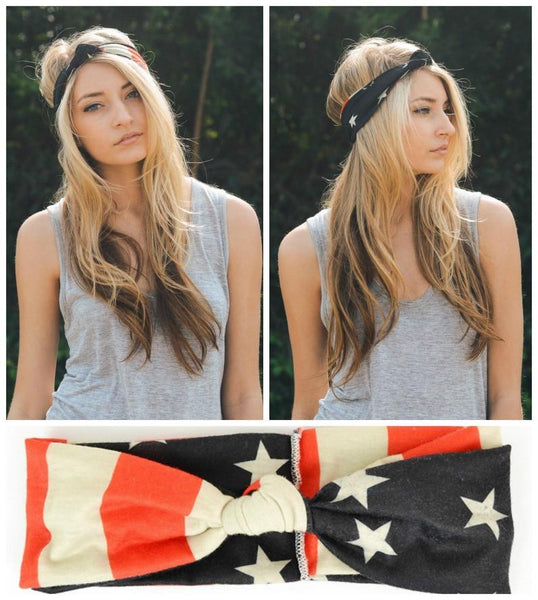 American Flag Top Knot Headband - GoGetGlam Boho Style