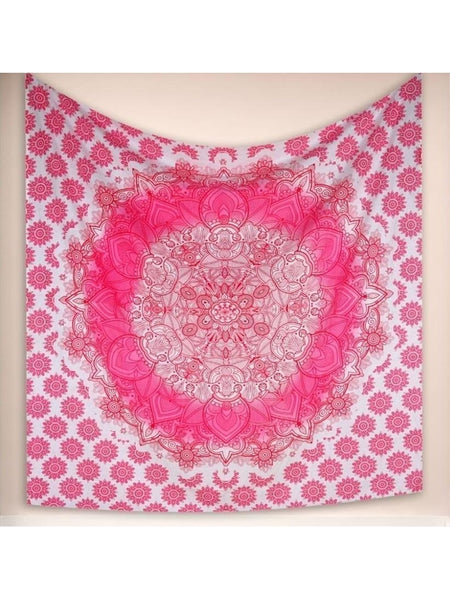Aria Pink Bohemian Fabric Wall Bed Tapestry-GoGetGlam