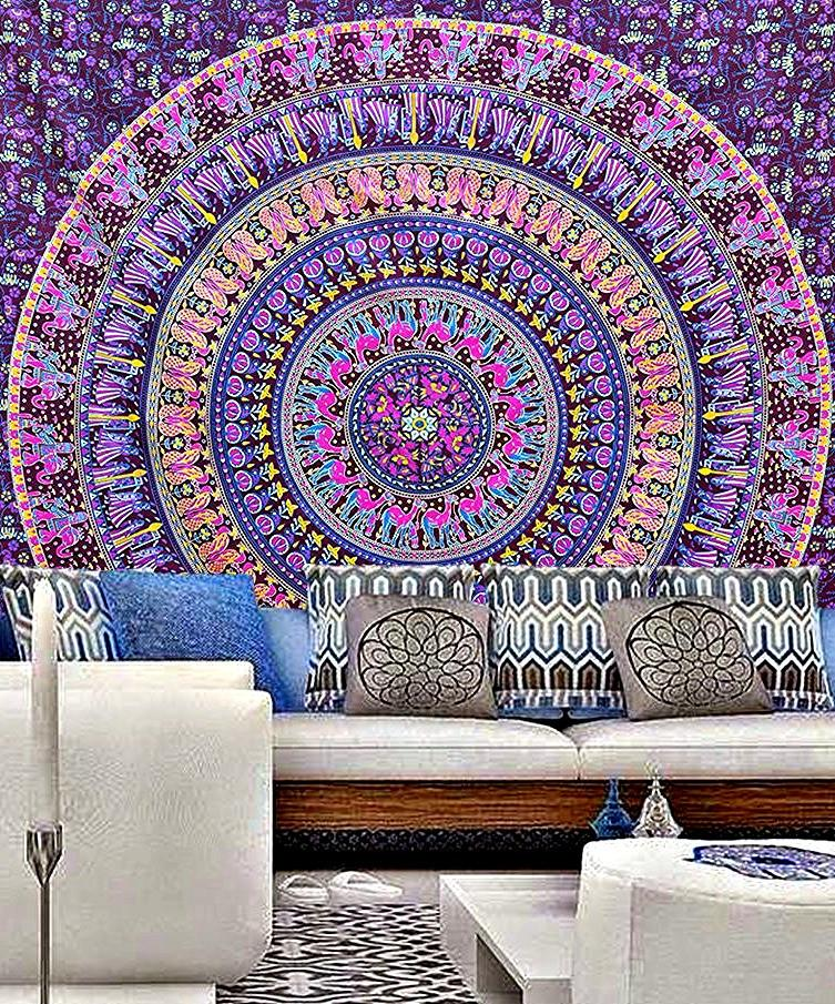 Aribella Purple Blue Mix Queen Size Boho Tapestry - GoGetGlam Boho Style