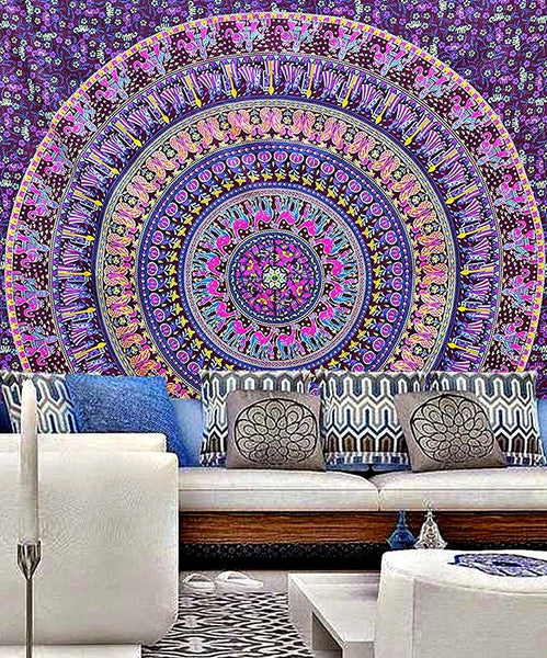 Aribella Purple Blue Mix Queen Size Boho Tapestry-GoGetGlam