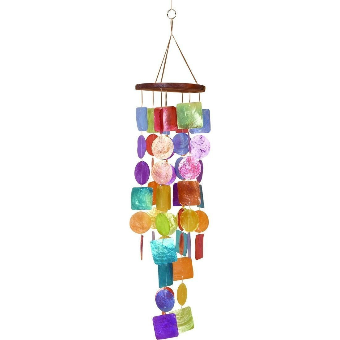 Artisan Crafted Capiz Shell Rainbow Wind Chime - Boho Bohemian Decor