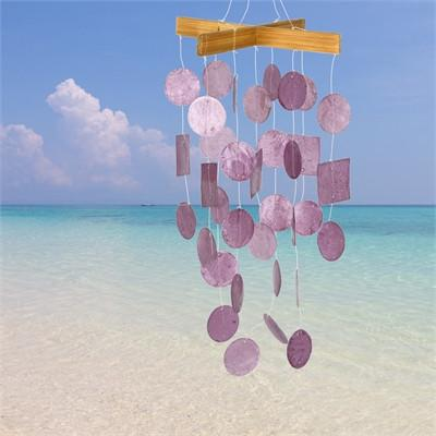Artisan Crafted Capiz Shell Wind Chime in 4 Colors - Boho Bohemian Decor