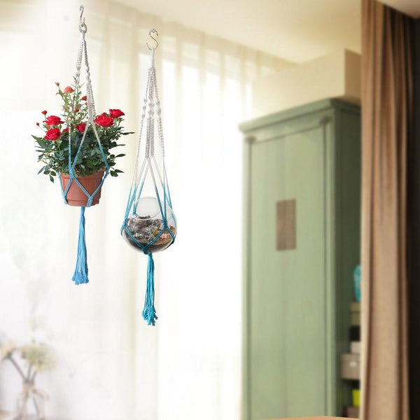 Artisan Made Set 2 Boho Blue Macrame Plant Hanger - Boho Bohemian Decor
