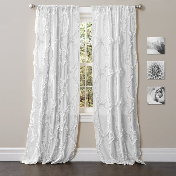 Avery Boho Romantic Ruffle Window Curtain Panel SET-GoGetGlam