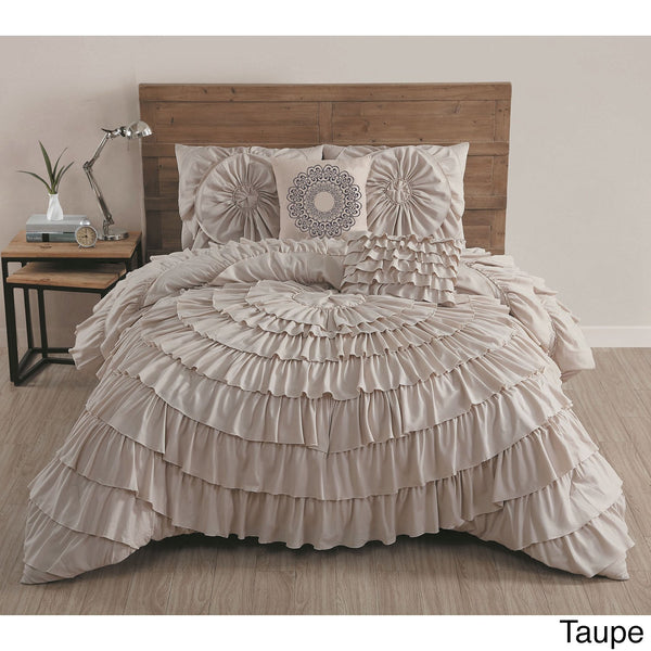 Azalee Romantic Ruffled 5 PC Comforter Bedding Set-GoGetGlam