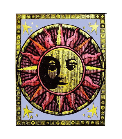 Aztec Sun Blacklight Reactive Cloth Wall Hanging-GoGetGlam