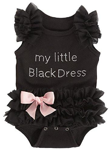 Baby Girls Embroidered Little Black Dress Bodysuit-GoGetGlam