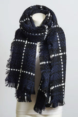 Basketweave Plaid Oversized Scarf-GoGetGlam