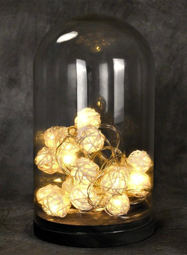 Battery Operated 20 Rattan Ball String Lights - GoGetGlam Boho Style