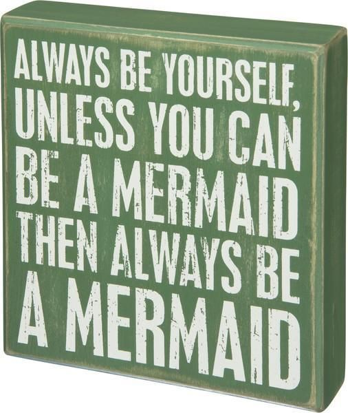 Be A Mermaid Wooden Box Sign - Boho Bohemian Decor