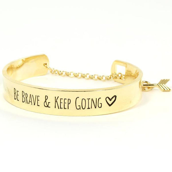 Be Brave Keep Going Gold Inspiration Bracelet - Boho Bohemian Decor
