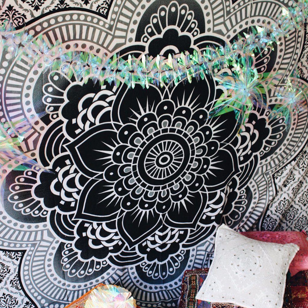 Becca Black Lotus Mandala Boho Wall Bed Tapestry-GoGetGlam