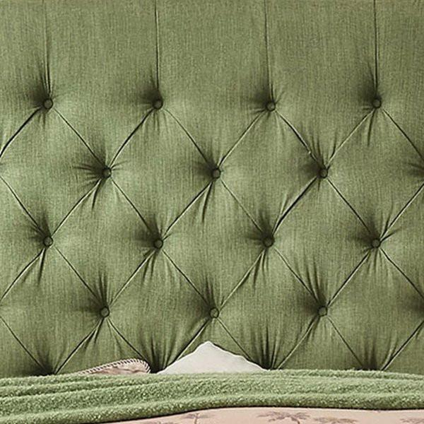 Becker Upholstered Wingback Panel Bed in Olive Green-GoGetGlam