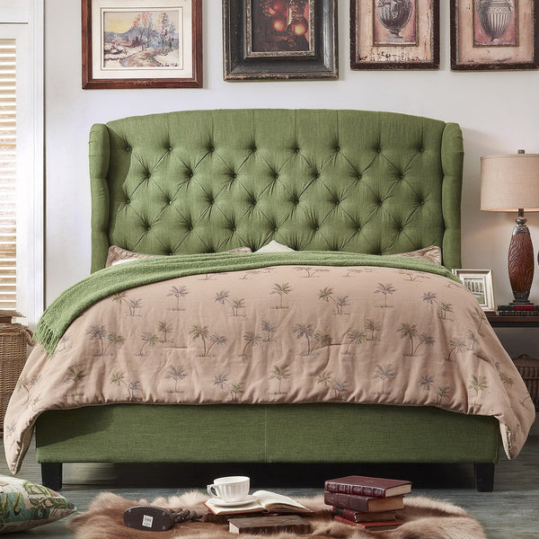 Becker Upholstered Wingback Panel Bed in Olive Green - GoGetGlam Boho Style