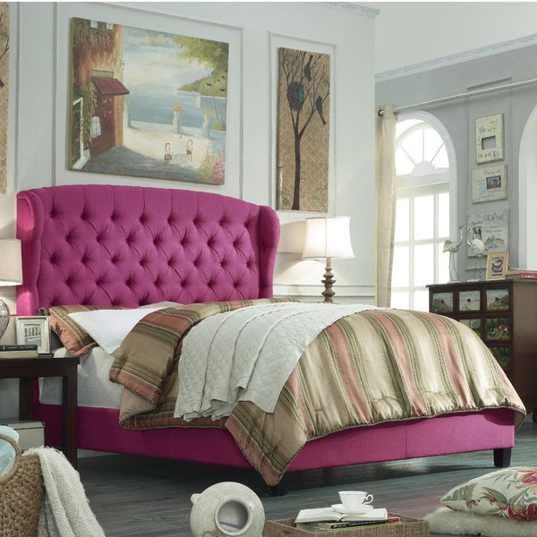Becker Upholstered Wingback Panel Bed in Pink - GoGetGlam Boho Style