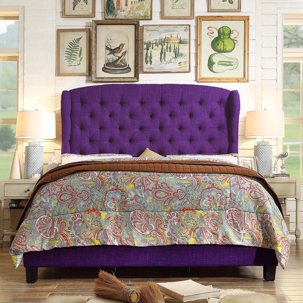 Becker Upholstered Wingback Panel Bed in Purple-GoGetGlam