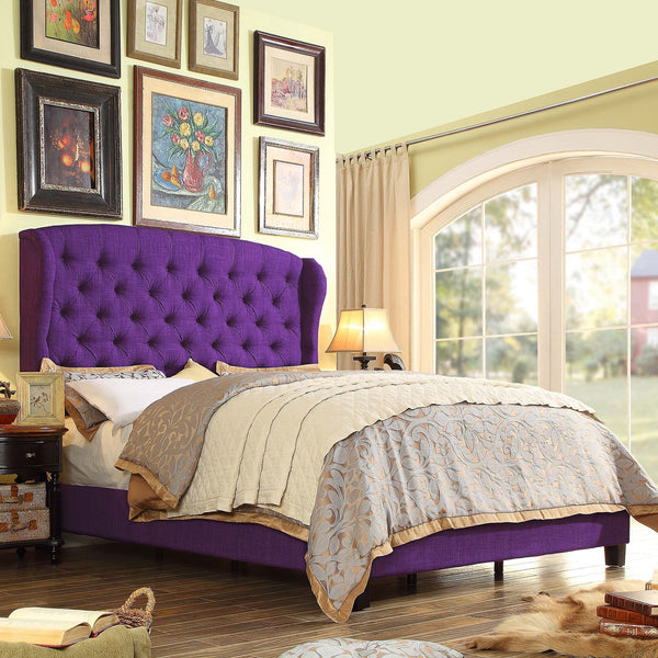 Becker Upholstered Wingback Panel Bed In Purple GoGetGlam