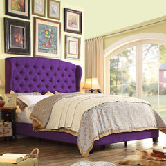 Becker Upholstered Wingback Panel Bed in Purple - GoGetGlam Boho Style