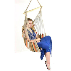Beige Mix Cushioned Hanging Hammock Chair-GoGetGlam
