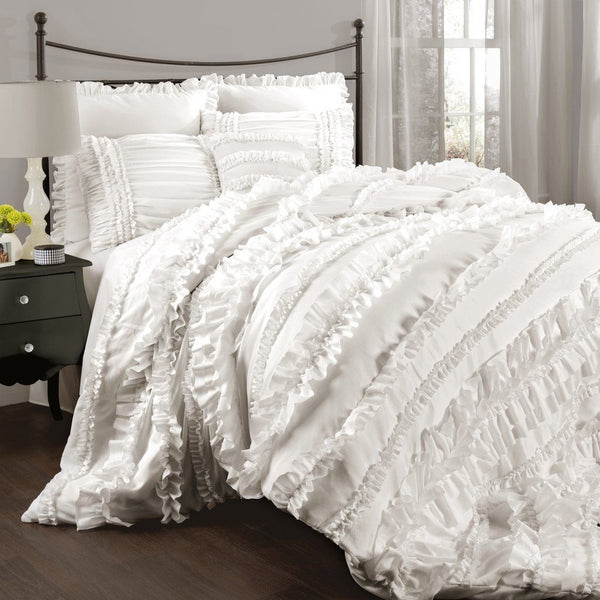 Bellamie 4PC Luxury Romantic Tier Ruffle Comforter Bedding SET - GoGetGlam Boho Style
