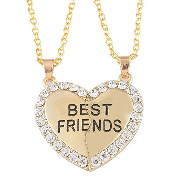 Best Friends BFF 2 PC Rhinestone Heart Necklace SET-GoGetGlam