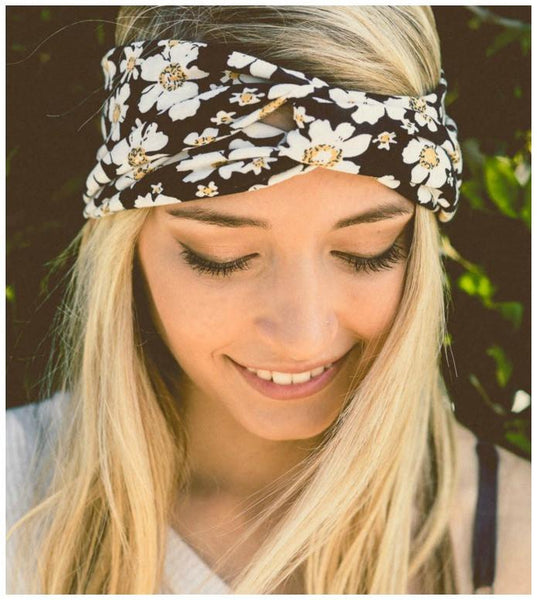 Black Floral Twist Headband-GoGetGlam