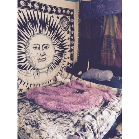 Black White Celestial Sun Tapestry Wall Hanging - GoGetGlam Boho Style