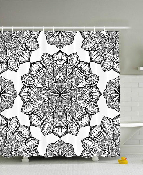 Black White Mandala Design Boho Fabric Shower Curtain - GoGetGlam Boho Style