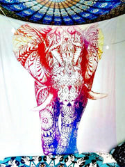Blush Elephant Boho Wall Bed Tapestry-GoGetGlam