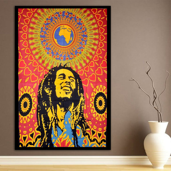 Bob Marley Psychedelic Wall Bed Table Twin Tapestry - GoGetGlam Boho Style