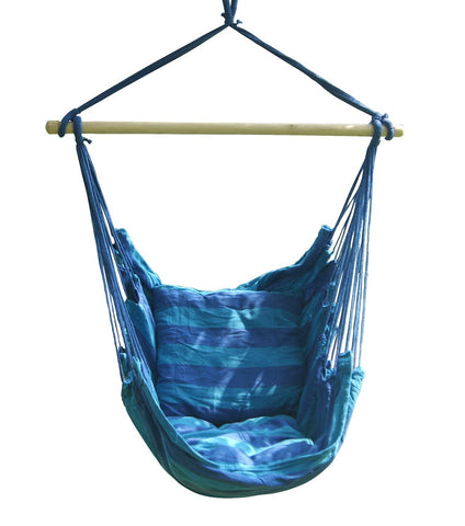 Bohemian Boho Cushioned Blue Hammock Hanging Chair GoGetGlam
