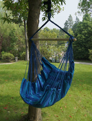 Bohemian Boho Cushioned Blue Hammock Hanging Chair-GoGetGlam