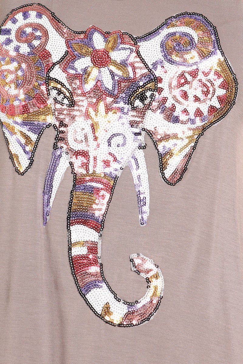 Bohemian Sequin Painted Elephant Graphic Tank Top - GoGetGlam Boho Style