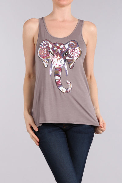 Bohemian Sequin Painted Elephant Graphic Tank Top-GoGetGlam