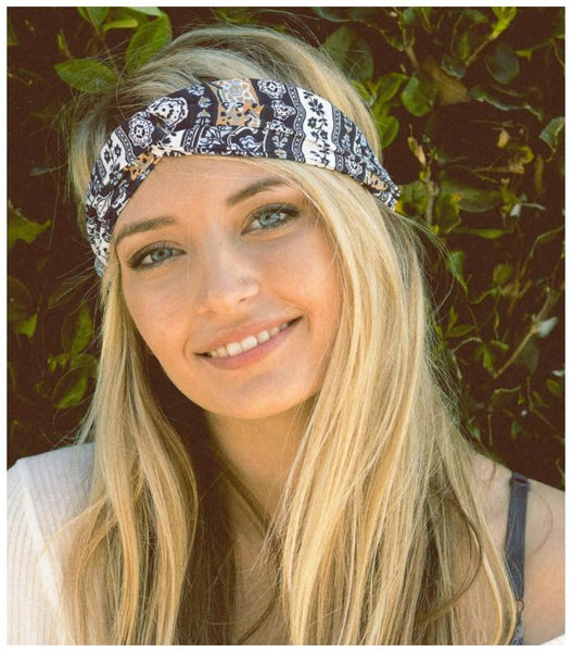 Bohemian Twist Headband in Blue-GoGetGlam