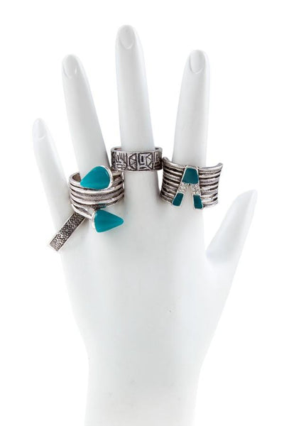 Boho Aztec Silver Ring SET - Boho Bohemian Decor