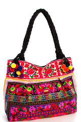 Boho Bazaar Embroidered Tote Bag-GoGetGlam