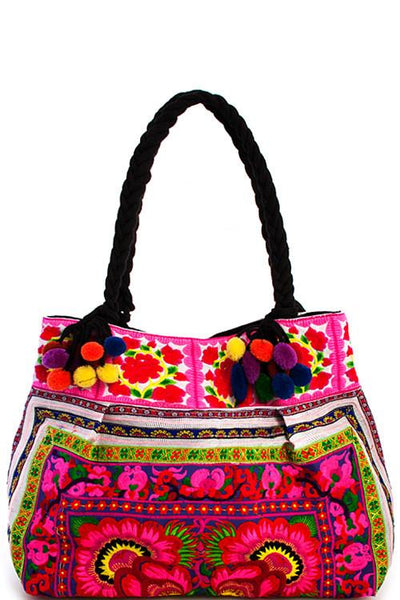 Boho Bazaar Embroidered Tote Bag - Boho Bohemian Decor