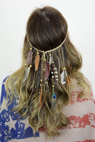Boho Boutique Feather Headband-GoGetGlam
