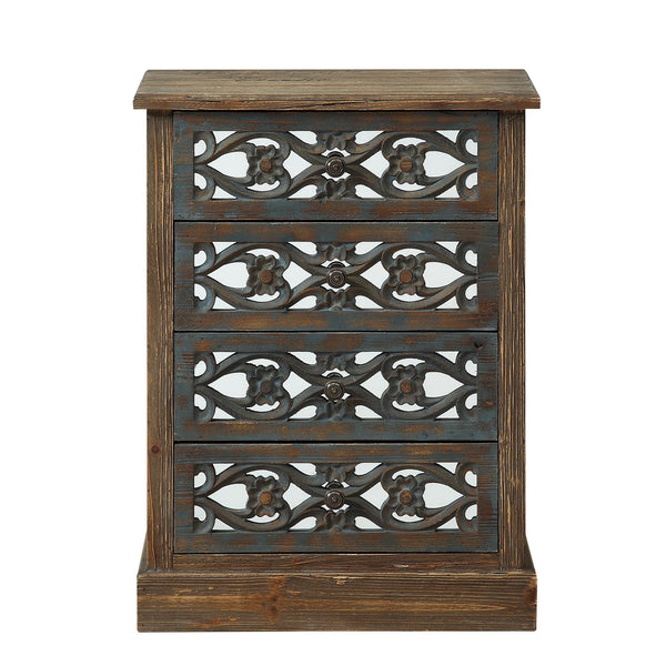 Boho Bungalow Four Door Mirrored Chest-GoGetGlam