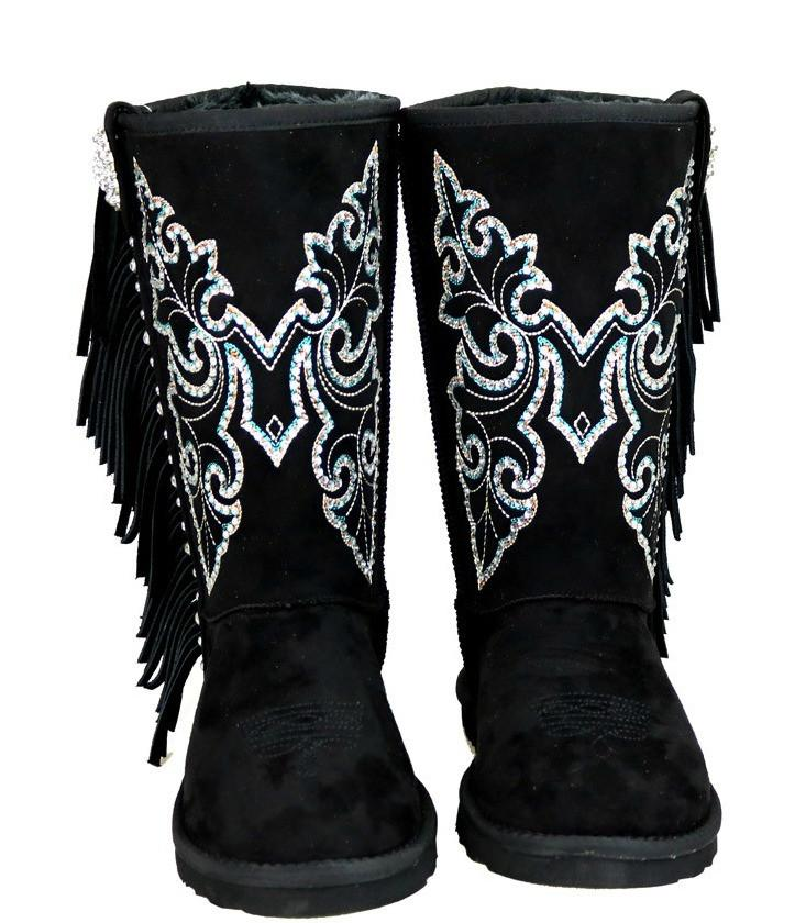 Boho Butterfly Stud Faux Shearling Lined Embroidered Boots - GoGetGlam Boho Style