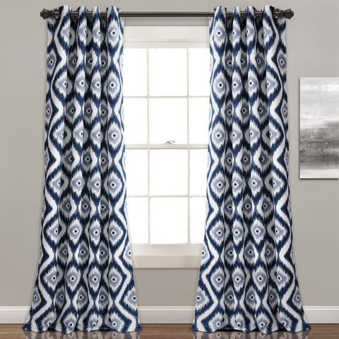 Boho Diamond Ikat Pattern Grommet Curtains-GoGetGlam