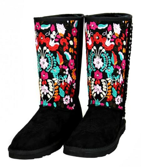 Boho Floral Embroidered Rhinestone Shearling Lined Boots - Boho Bohemian Decor