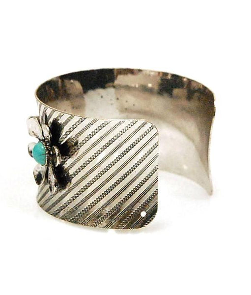 Boho Floral Turquoise Silver Cuff Bracelet-GoGetGlam