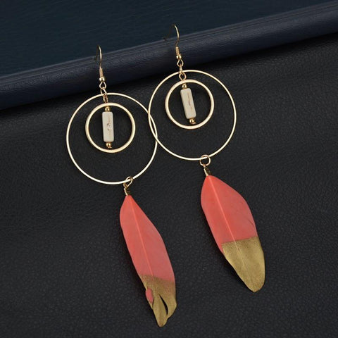 Boho Gold Dip Coral Feather Earrings-GoGetGlam